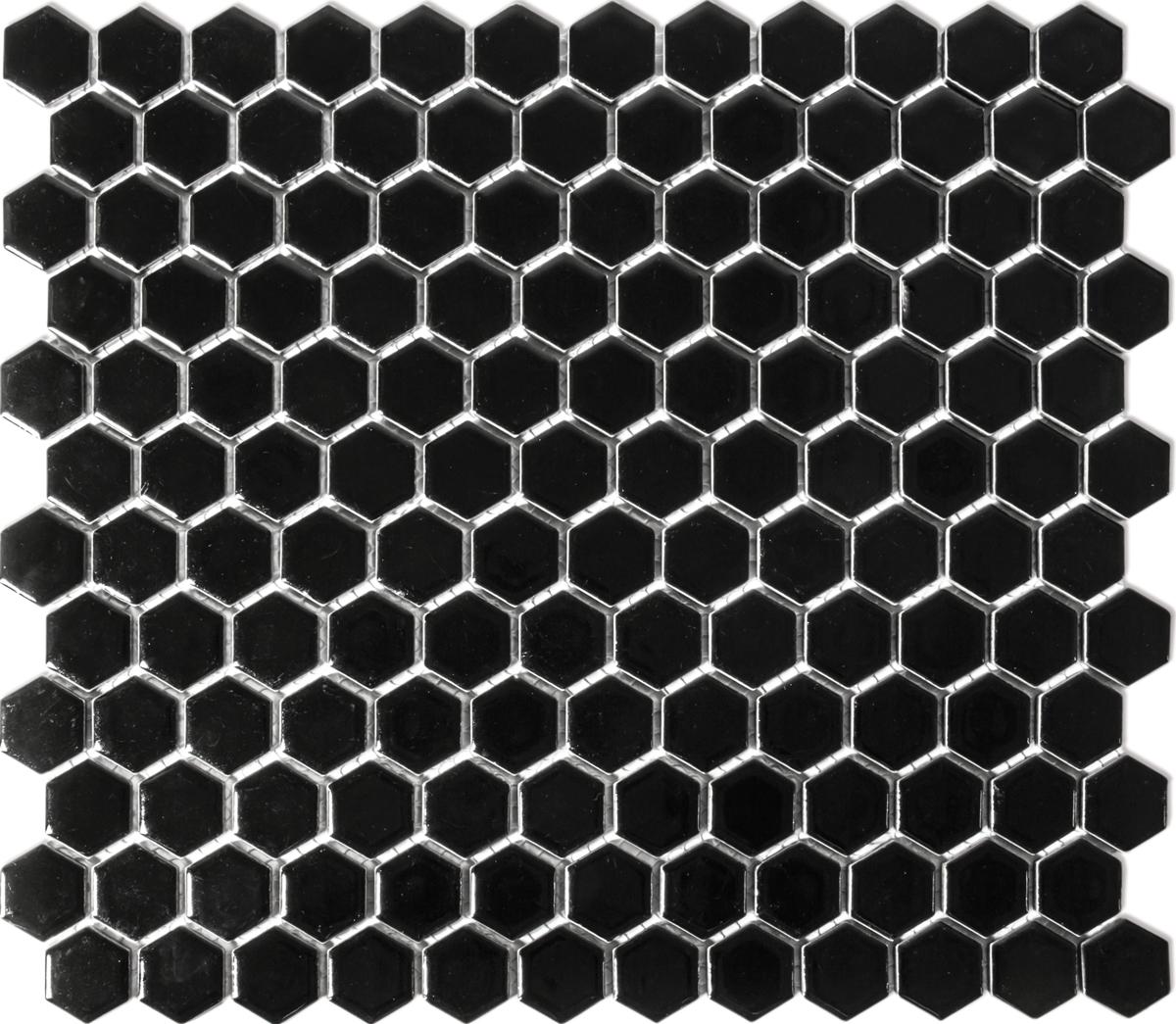 HX060[OUTLET], Hexagon, Musta, lattia,mosaiikki