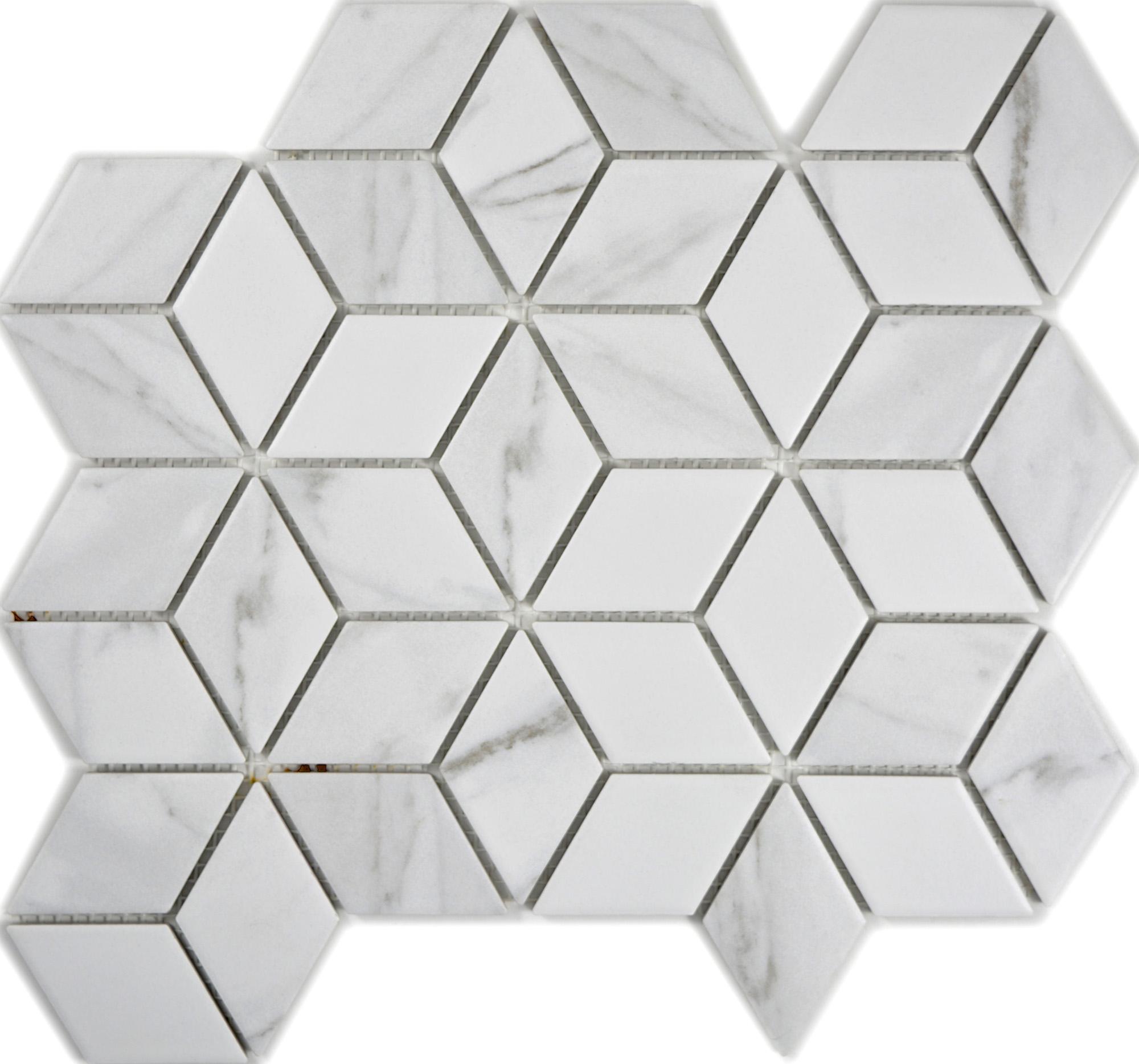 CIMPOVCR, Lasitettu marmorimosaiikki, Valkoinen, lattia,mosaiikki,pakkasenkesto,liukastumisenesto
